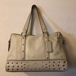 Beige authentic Coach leather handbag